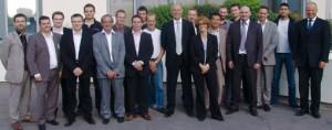 Personalwechsel bei Scheidt & Frankreich France S.A.S.: der neue Geschäftsführer Patrick Moretton (Bildmitte) mit dem Team und dem Chef der deutschen Mutterfirma, Martin Kammler (ganz rechts)