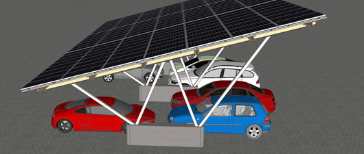 Parkend Strom erzeugen: Das Görisrieder Unternehmen ECS Solar bietet Carport-Systeme mit Photovoltaik-Panels an. Foto: ECS Solar