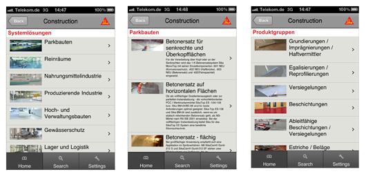 Neu für Apple, Android und Blackberry: Die Sika Product Finder App. Sie ermöglicht den direkten und weltweiten Zugriff auf sämtliche Produktkataloge und Datenblätter von Sika. Fotos: Sika Deutschland GmbH