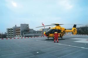 Hubschrauberlandeplatz auf dem Parkhausdach