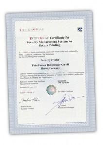 Sicherheitsdruckerei: Intergraf Zertifikat für Fleischhauer