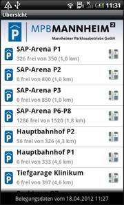 Screenshot der MPB-App für Android-Smartphones