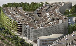 Das aus zwei Baukörpern bestehende Parkhaus soll einen zügigen Verkehrsfluss ermöglichen.