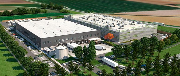 Rendering des Van-Parkhauses (rechts) und des Distributionszentrums in Straubing, Deutschland