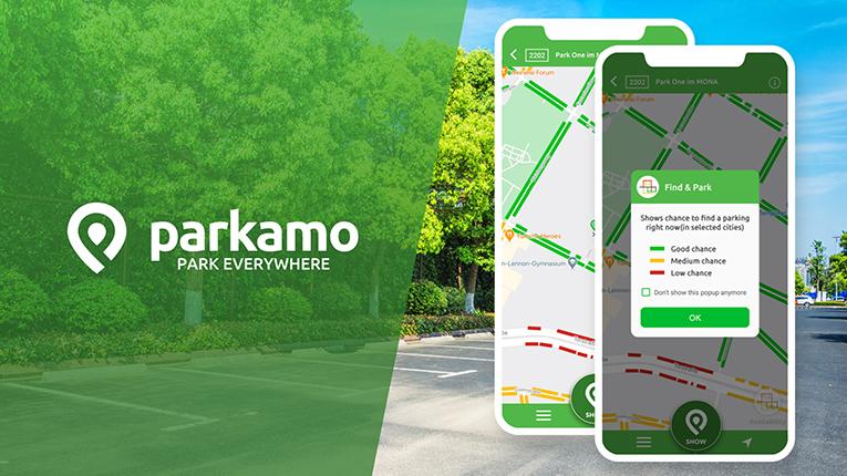 Find & Park ist bis jetzt in München, Hamburg und Köln verfügbar. – Grafik: Parkamo